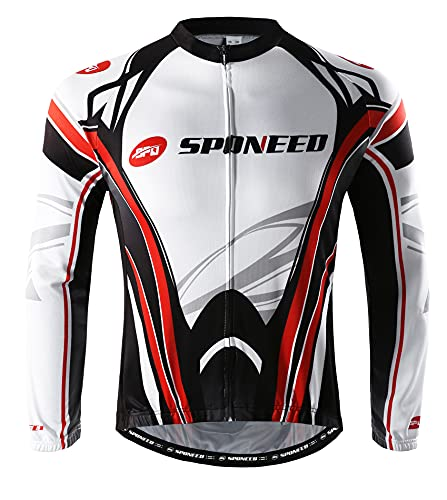 sponeed Men's Bicycle Jersey and Pants Set Long-Sleeved Quick Dry Size XL US White Red