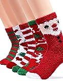Kingoudoor Fuzzy Fluffy Christmas Socks - Kids Thermal Cozy Warm Slipper Socks Xmas Gifts for Women...