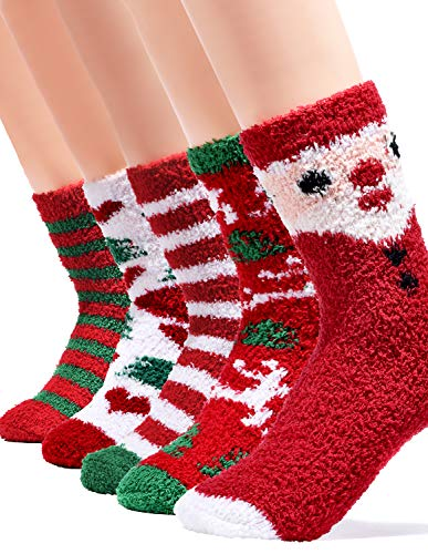 Kingoudoor Fuzzy Fluffy Christmas Socks - Kids Thermal Cozy Warm Slipper Socks Xmas Gifts for Women & Girl