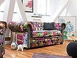 Beliani Sofá tapizado Multicolor Violeta Chesterfield