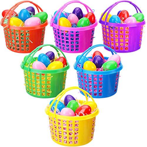 48 Piezas Juego de Cestas de Huevos de Pascua Incluye 6 Cestas de Plástico de Búsqueda Huevos de Pascua con Asa 36 Huevos de Plástico de Sorpresa Rellenables Coloridos 6 Papeles Tisú Rafia