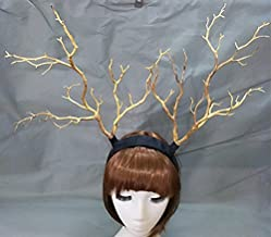 Qhome Branch Horn Hoop Headband Forest Animal Photography Original Manual Exhibition Cosplay Photo Props Dark Forest Witches Deluxe Costume Horns (Yellow)