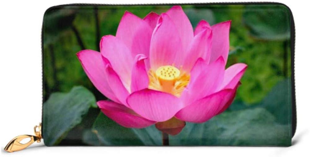 Fashion Handbag Zipper Wallet Lotus Flower Full Bloom Taipei April Phone Clutch Purse Evening Clutch Blocking Leather Wallet Multi Card Organizer