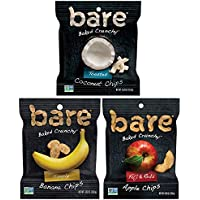 16-Count Bare Baked Crunchy Fruit Snack Pack, Apples, Bananas, and Coconut Flavors, 0.53oz