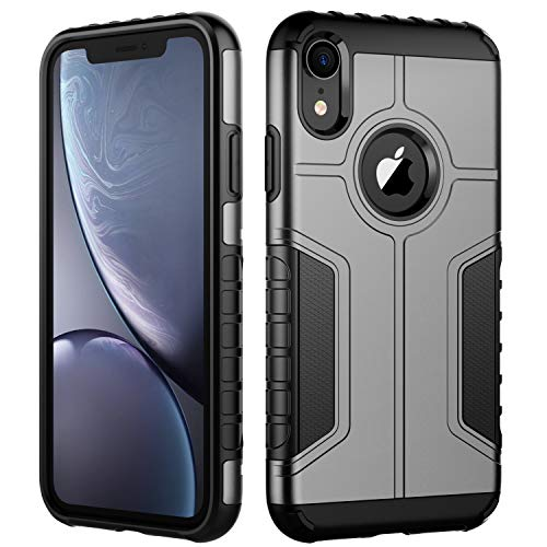 JETech Funda Compatible iPhone XR, Carcasa Protectora de Doble Capa Absorción de Choque, Gris