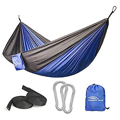 Forbidden Road Swing Camping Hammock 210D Nylon with Straps (Navy Blue/Grey, Single)