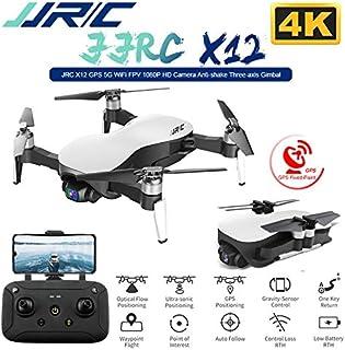 Accrie JJRC X12 Anti-Shake 3 Axis Gimble GPS Drone WiFi FPV 1080P 4K HD Camera Brushless Motor Foldable Quadcopter Vs H117s Zino White 4k 1 Battery