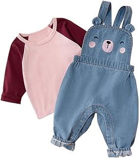 Baby Girls Infant Denim Bib Jumpsuit Overalls Outfits Romper Jeans Shirt 2PC Set