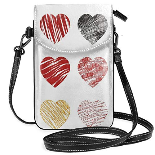 Women Small Cell Phone Purse Crossbody,Hand Drawn Of Heart Figures Icons Love Valentines Wedding Theme Print