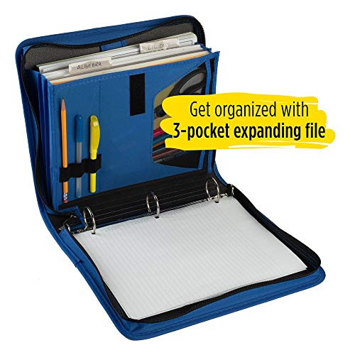 Five Star Zipper Binder, 1-1/2 Inch 3 Ring Binder, 3-Pocket Expanding File, Durable, Blue (72202) Photo #5