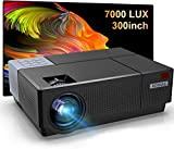 Proyector Full HD, BOSNAS 7000 Lúmenes Proyectores LED 1920x1080P Nativo Soporta Hi-Fi Sonido, Ajuste Digital 4D ±45°, Proyector Cine en Casa Pantalla 300', 100000 Horas