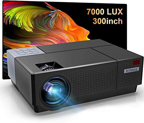 Beamer Full HD, BOSNAS Native 1080P LED Projektor 7000 Lumens Unterstützt HiFi-Sound, 4D ±45° Elektronische Korrektur, 300'' Heimkino Beamer Kompatibel mit TV Stick PS4 Xbox Laptop Smartphone