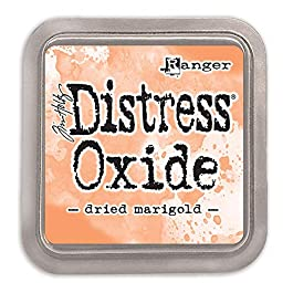 Ranger Festive Berries-a 2×2 Raised, Water-Reactive Dye Ink Tim Holtz Distress Oxide Pad Dried Marigold, ys/m, Yellow