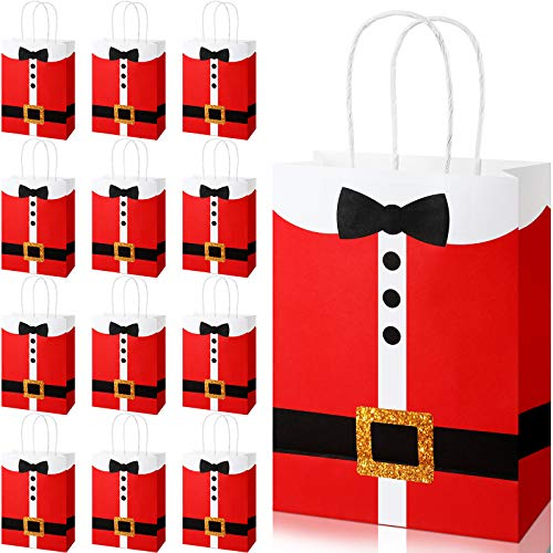 16 Pieces Large Santa Clause Suit Print Treat Bags with Handles, Durable Kraft Christmas Bags Santa Present Bags Candy Goodie Bags for Christmas Xmas Party Supplies, 6.3 x 3.1 x 8.7 Inches