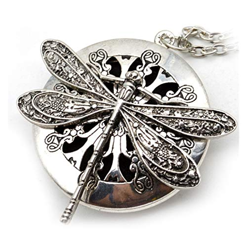 PHOOW 1 piece of antique silver dragonfly aroma diffuser pendant necklace, the charm of men's and women's necklaces aromatherapy perfume necklace, pendant jewelry gift