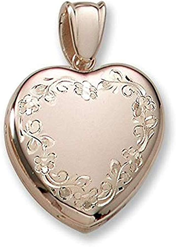 18k Premium Weight Hand Engraved Yellow Gold Heart Picture Locket - 1 Inch X 1 Inch in 18K with Engraving