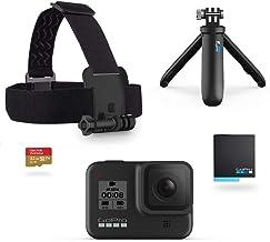 GoPro HERO8 Black Holiday Bundle - Cámara HERO8 Black + Correa para la cabeza + Batería recargable + Memoria de 32GB + Shorty
