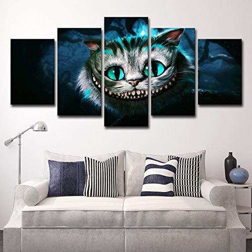 RuYun 5 Wand - Kunst Alice im Wunderland Katzen dekorative Malerei zu Hause Wohnzimmer Schlafzimmer Leben, L: 12x18inch-2P 12x24inch- 2P 12x30inch -1P, Leinwandmalerei Kern