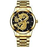 Reloj para Hombre, Elegante, Minimalista, de Cuarzo, Acero Inoxidable, Relojes a Prueba de Agua -D