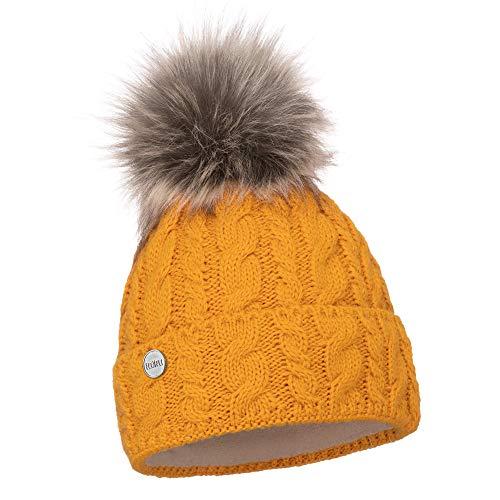 EliMeli® Damen Winter Mütze warme Strickmütze Wintermütze mit Bommel Slouch Strick Beanie Damen für Winter Bommelmütze Hergestellt in EU Farbenauswahl 15568 (Senfgelb)