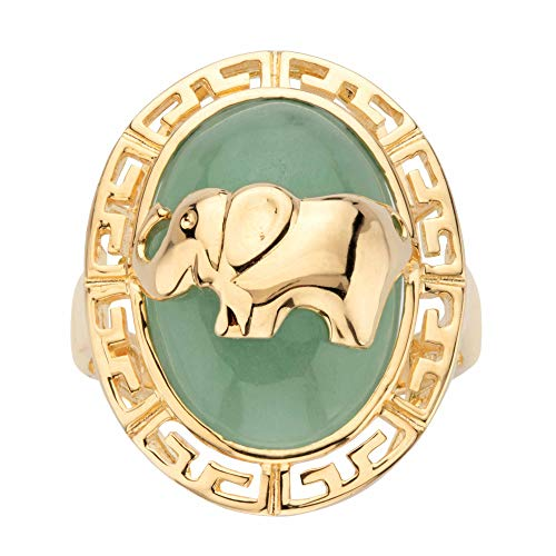 14K Yellow Gold over Sterling Silver Oval Shaped Genuine Green Jade Elephant Ring Size 9