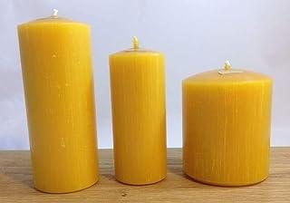 Kerzenset: 3 Stück Kerzen unterschiedlicher Größen aus 100% Bienenwachs in Stumpenform. Handgemacht direkt vom Imker aus Deutschland, Bayern, von der Bienenbude.