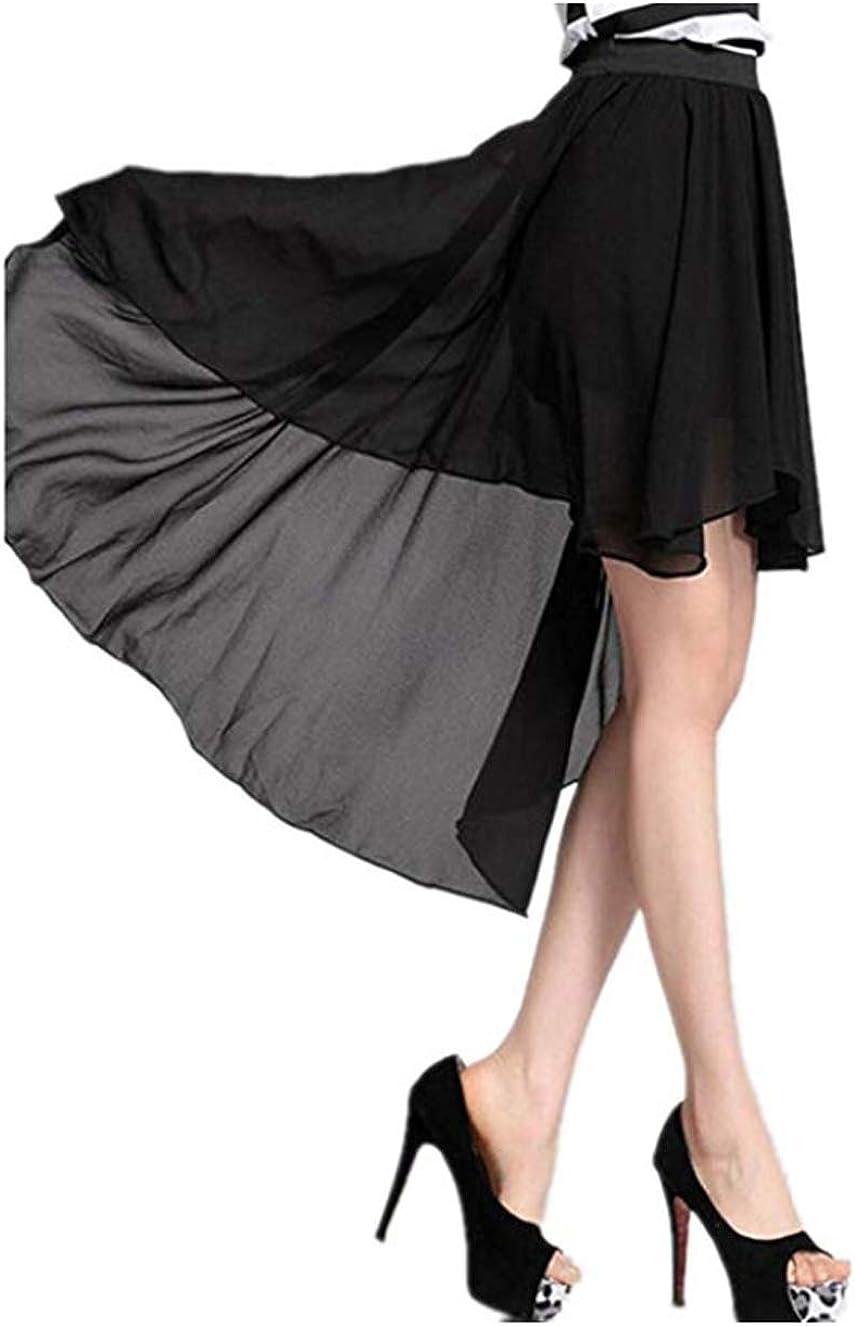 Women's Elastic Waist High Low Hem Asymmetric Chiffon Skirt Black