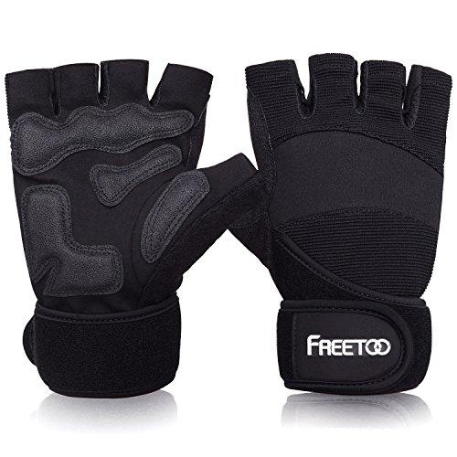 guanti palestra con polsiera FREETOO Guanti per Sollevamento Pesi con polsiera Allenamento Fitness Bodybuilding per Uomo e Donna