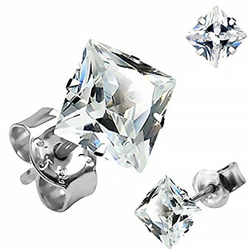 Zirkonia Ohrstecker 925 Sterling Silber eckig Damen Herren Ohrringe schwarz klar silber-klar 7 mm