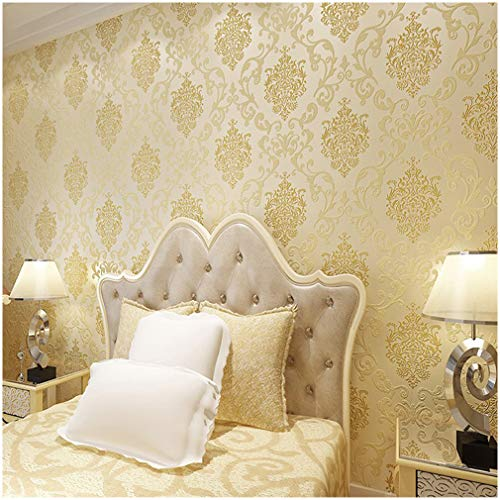 QIHANG European Style Luxury 3D Damask Pearl Powder Non-woven Wallpaper Roll Beige Color 0.53m10m=5.3㎡