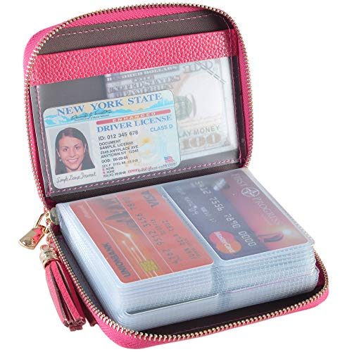 Easyoulife Womens Credit Card Holder Wallet Zip Leather Card...
