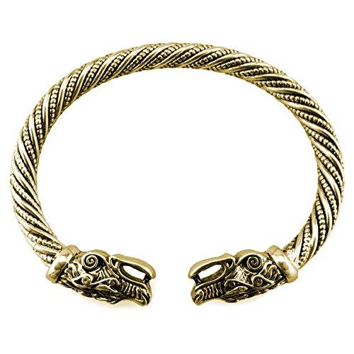Wikinger Armreif Fenris Wolf - Silber oder Gold / Bronze (Gold)