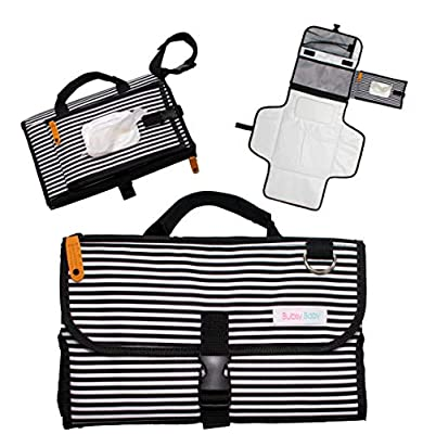 Portable Diaper Changing Pad: Baby Shower Present for New Mom or New Dad, Travel Bag, Stroller Accessory, Parents Clutch Diapering Mat for Girl, Boy, Infant, Toddler with wipe dispenser by Bubsy Estelle, LLC