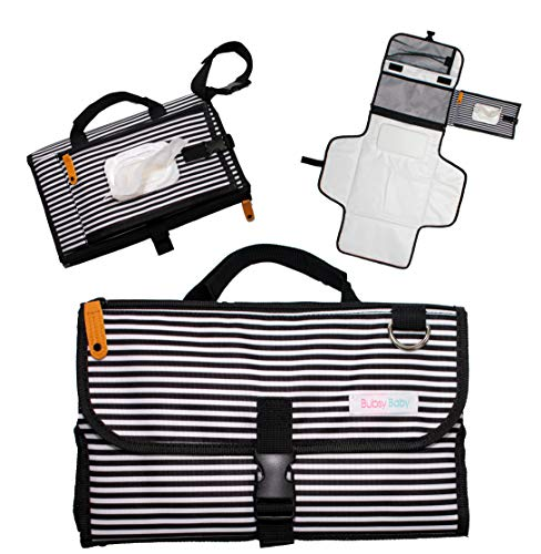 Portable Diaper Changing Pad: Baby Shower Present for New Mom or New Dad, Travel Bag, Stroller Accessory, Parents Clutch Diapering Mat for Girl, Boy, Infant, Toddler with wipe dispenser