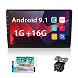 UNITOPSCI Double Din 10.1 Inch Android Car Stereo with GPS Bluetooth 2.5D HD Touch Screen Multimedia Stereo in Dash Head Unit Support WiFi FM Radio Dual USB Mirror Link Car MP5 Player + Backup Camera