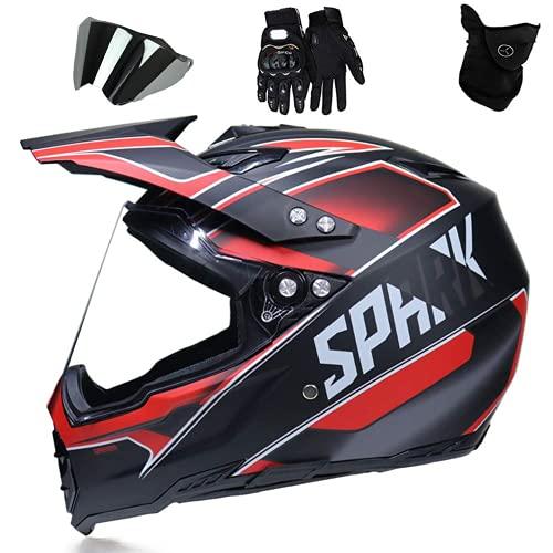 WAHA Casco Motocross Adulto Set,para Motocicleta ATV MTB Bicicleta De Montaña Carrera...