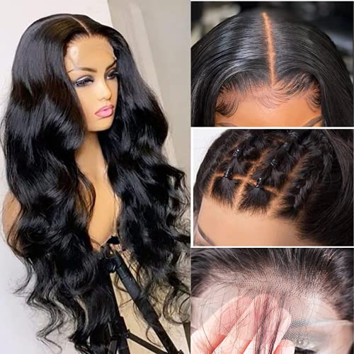 SUPERLOOK Transparent Lace Front Wigs Human Hair 4x4 Lace Front Wigs Body Wave 20inch 4x4 Closure Wigs For Black Women Brazilian Body Wave Wigs With Baby Hair Natural Color