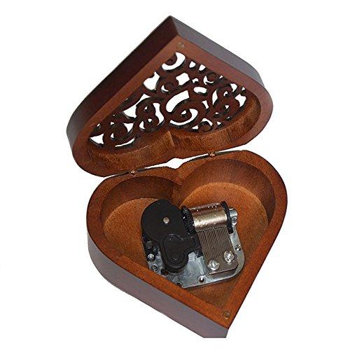 FnLy Musik-Box zum Aufziehen, Antik-Gravur, aus Holz, Holz, Silberfarben, Heart-Shaped