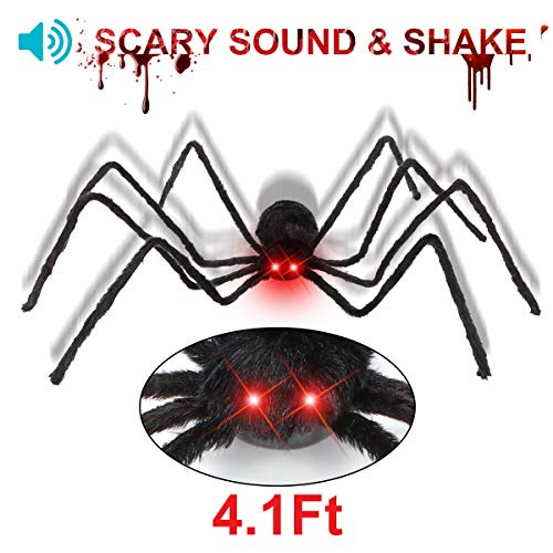 50 Giant Hairy Black Spider Bright - Red LED Spider Eye with Horror Sound and Foldable Large Fake Spider - Creepy Halloween Decorations