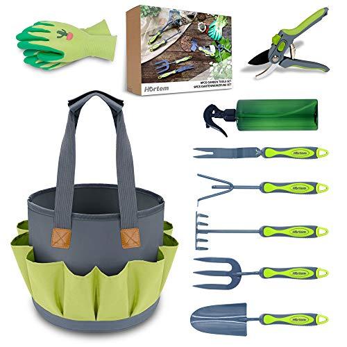 Hortem Garden Tools Set, 9PCS Gardening Tools Include Durable Steel Trowel...