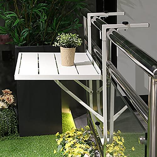 sandy Mesa Plegable de Pared Mesa de Balcón, Mesa de Hierro Forjado Regulable en Altura para Doméstico Mesa de Espacio Pared Pequeña, Fácil de Instalar,Blanco