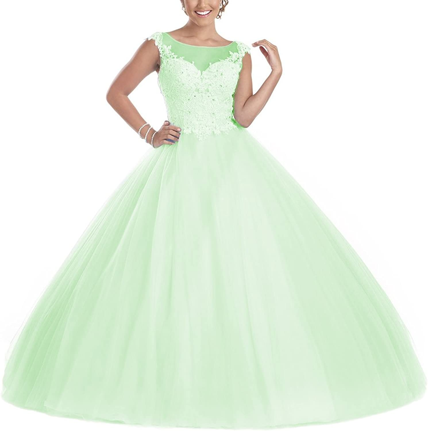 YSMei Women's Cap Sleeves Long Quinceanera Dress Beads Scoop Prom Ball Gown QC75