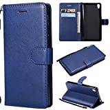 BoxTii Coque Sony Xperia E5, Etui en Cuir Flip Portefeuille Housse de Protection avec Gratuit Protection D'écran en Verre Trempé pour Sony Xperia E5 (Bleu)
