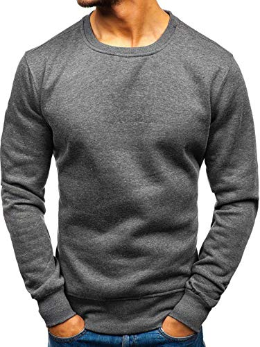 BOLF Herren Sweatshirt Pullover Sweater Pulli ohne Kapuze Langarmshirt Rundhalsausschnitt Farbvarianten Crew Neck Longsleeve Classic Fitness Basic Sport J.Style 2001 Anthrazit L [1A1]