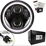 Eagle Lights Generation II 5.75 Inch Projection LED Headlight with White Halo Ring, fits Harley Davidson Motorcycles (Black)