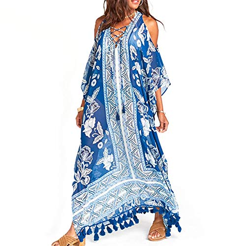 WANGIRL Largo Vestido de Playa Kaftan Kimonos Pareos Bohemia Cover Ups para Mujer Bikini Kimono de Talla Grande Traje de Baño Bohemio Maxi Caftán Túnica Pareos