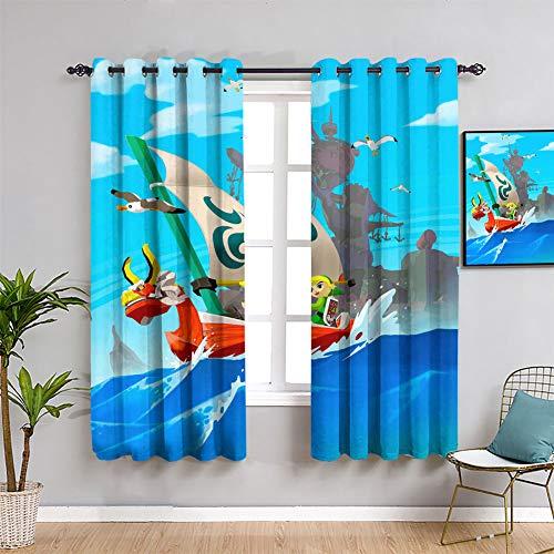Legend of Zelda Wind Waker - Cortinas de tratamiento para ventana de anime y juego para habitación de niños, 163 x 163 cm