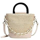 Gxklmg Bolsa de Asas de Paja para Mujer, Bolso de Hombro de Tejido de Paja Crossbody Bag Summer Bolsa de Playa con Cremallera,Blanco