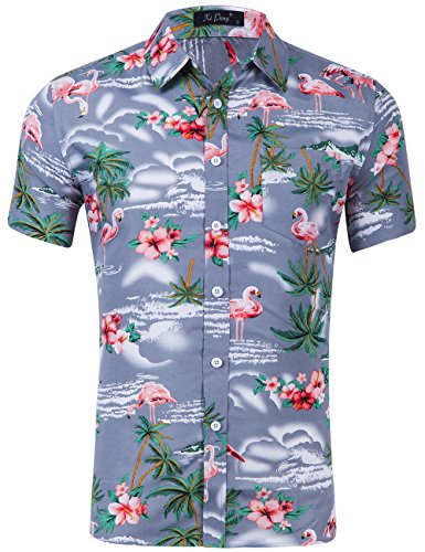 XI PENG Men's Tropical Short Sleeve Floral Print Beach Aloha Hawaiian Shirt (Pink Flamingo Hibiscus Grey, X-Large)