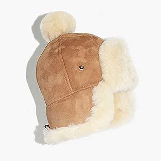 Genuine Sheepskin Leather Hats Men Women Winter Sheep Fur Pompom Russian Warm Suede Earflap Snow Ski Cap